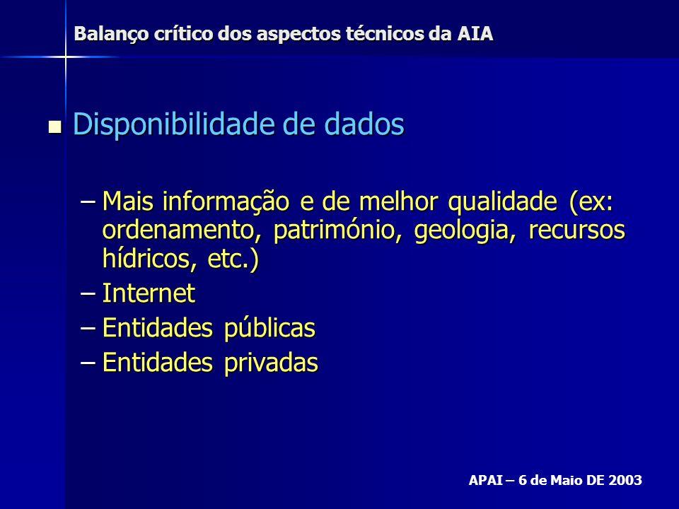 Balanço crítico dos aspectos técnicos da AIA APAI – 6 de Maio DE 2003 Disponibilidade de dados Disponibilidade de dados –Mais informação e de melhor q