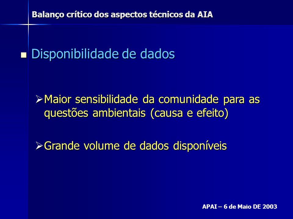 Balanço crítico dos aspectos técnicos da AIA APAI – 6 de Maio DE 2003 Disponibilidade de dados Disponibilidade de dados Maior sensibilidade da comunid