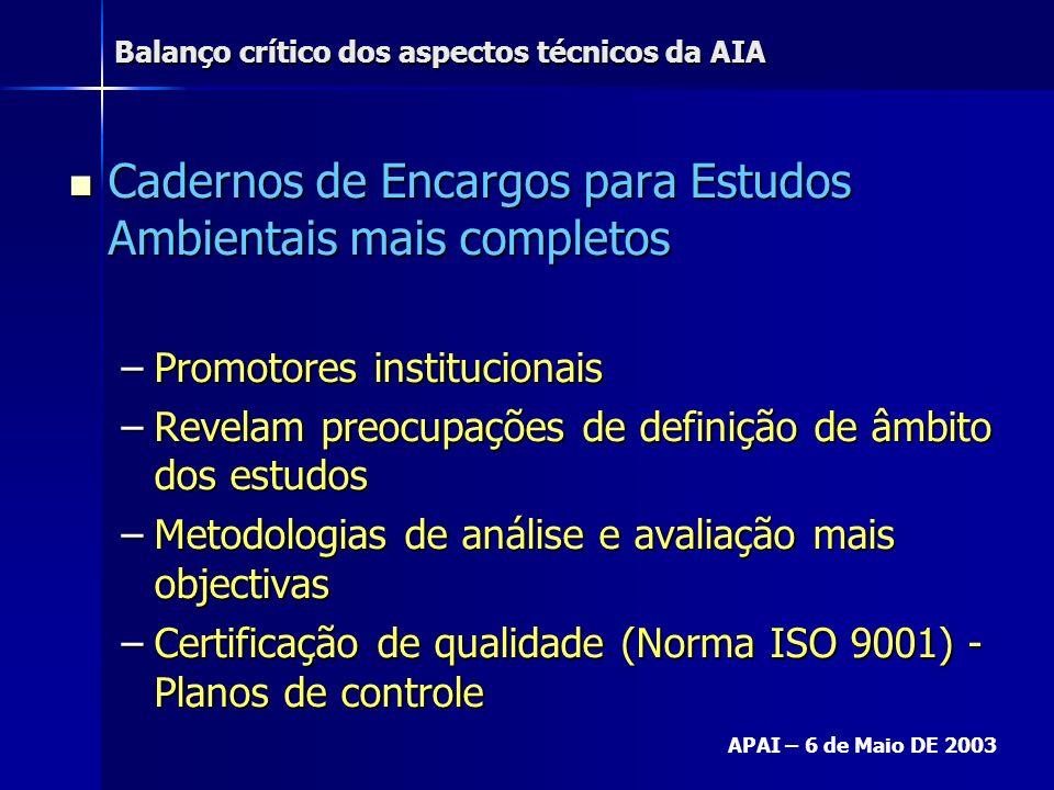 Balanço crítico dos aspectos técnicos da AIA APAI – 6 de Maio DE 2003 Cadernos de Encargos para Estudos Ambientais mais completos Cadernos de Encargos