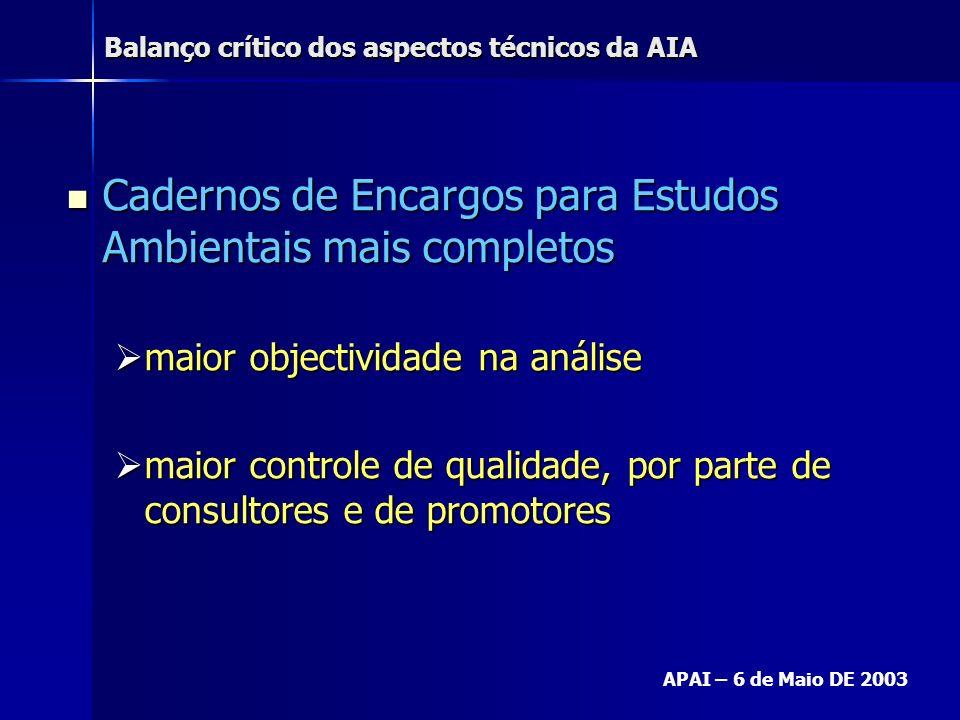 Balanço crítico dos aspectos técnicos da AIA APAI – 6 de Maio DE 2003 Análise da situação presente Análise da situação presente –objectivos do promotor ver aprovado o seu projecto ver aprovado o seu projecto Assegurar a minimização de impactes da sua actividade Assegurar a minimização de impactes da sua actividade