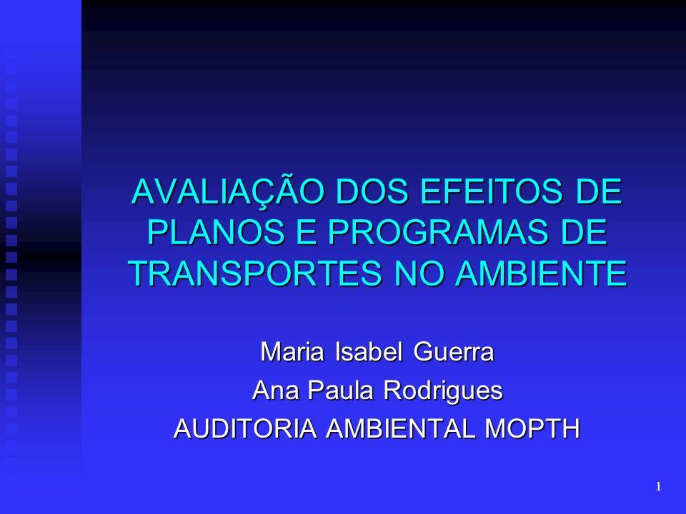 1 AVALIAÇÃO DOS EFEITOS DE PLANOS E PROGRAMAS DE TRANSPORTES NO AMBIENTE Maria Isabel Guerra Ana Paula Rodrigues AUDITORIA AMBIENTAL MOPTH