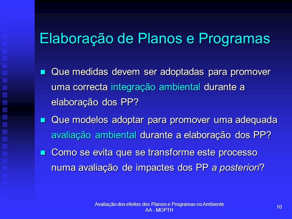 Avaliação dos efeitos dos Planos e Programas no Ambiente AA - MOPTH 10 Elaboração de Planos e Programas Que medidas devem ser adoptadas para promover uma correcta integração ambiental durante a elaboração dos PP.