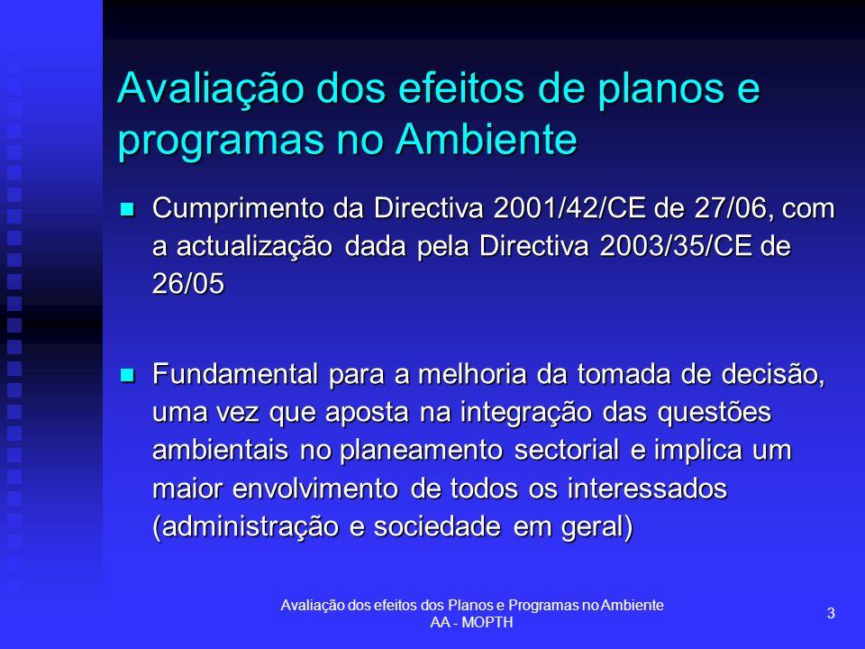 Avaliação dos efeitos dos Planos e Programas no Ambiente AA - MOPTH 3 Avaliação dos efeitos de planos e programas no Ambiente Cumprimento da Directiva 2001/42/CE de 27/06, com a actualização dada pela Directiva 2003/35/CE de 26/05 Cumprimento da Directiva 2001/42/CE de 27/06, com a actualização dada pela Directiva 2003/35/CE de 26/05 Fundamental para a melhoria da tomada de decisão, uma vez que aposta na integração das questões ambientais no planeamento sectorial e implica um maior envolvimento de todos os interessados (administração e sociedade em geral) Fundamental para a melhoria da tomada de decisão, uma vez que aposta na integração das questões ambientais no planeamento sectorial e implica um maior envolvimento de todos os interessados (administração e sociedade em geral)