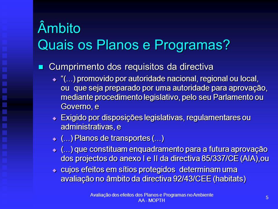 Avaliação dos efeitos dos Planos e Programas no Ambiente AA - MOPTH 6 Âmbito Quais os Planos e Programas.