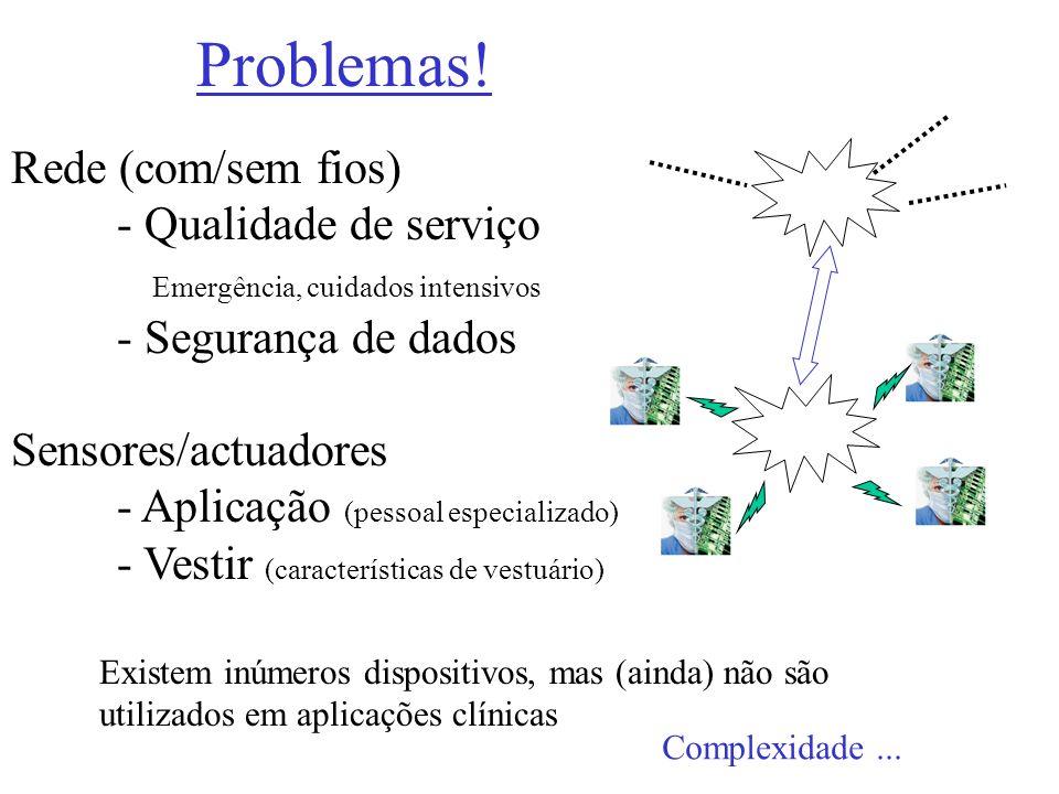 Problemas! Rede (com/sem fios) - Qualidade de serviço Emergência, cuidados intensivos - Segurança de dados Sensores/actuadores - Aplicação (pessoal es