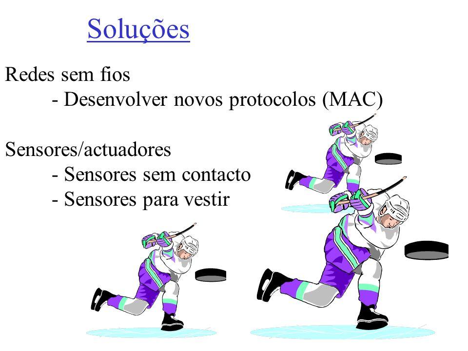 Redes sem fios - Desenvolver novos protocolos (MAC) Sensores/actuadores - Sensores sem contacto - Sensores para vestir Soluções