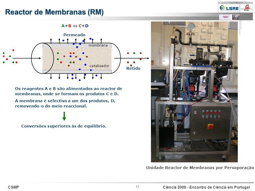 CSMPCiência 2009 - Encontro de Ciência em Portugal Retido Permeado 11 A+B C+D membrana catalisador Os reagentes A e B são alimentados ao reactor de me