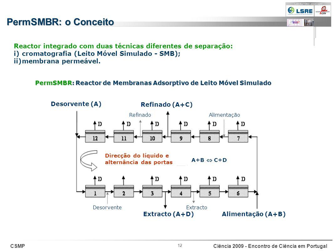 CSMPCiência 2009 - Encontro de Ciência em Portugal 12 Direcção do líquido e alternância das portas A+B C+D Alimentação (A+B) Refinado (A+C) Extracto (