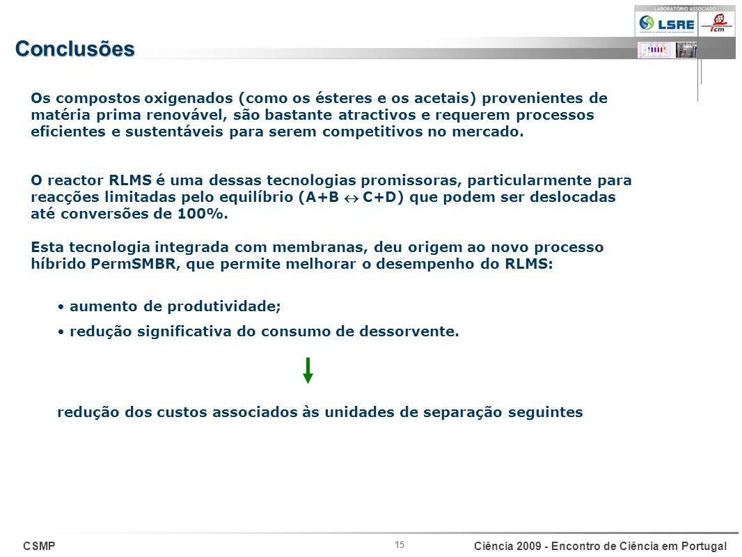 CSMPCiência 2009 - Encontro de Ciência em Portugal 15 Conclusões Os compostos oxigenados (como os ésteres e os acetais) provenientes de matéria prima