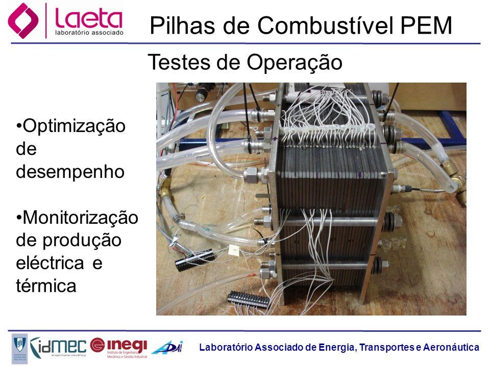 Laboratório Associado de Energia, Transportes e Aeronáutica Pilhas de Combustível PEM Optimização de desempenho Monitorização de produção eléctrica e