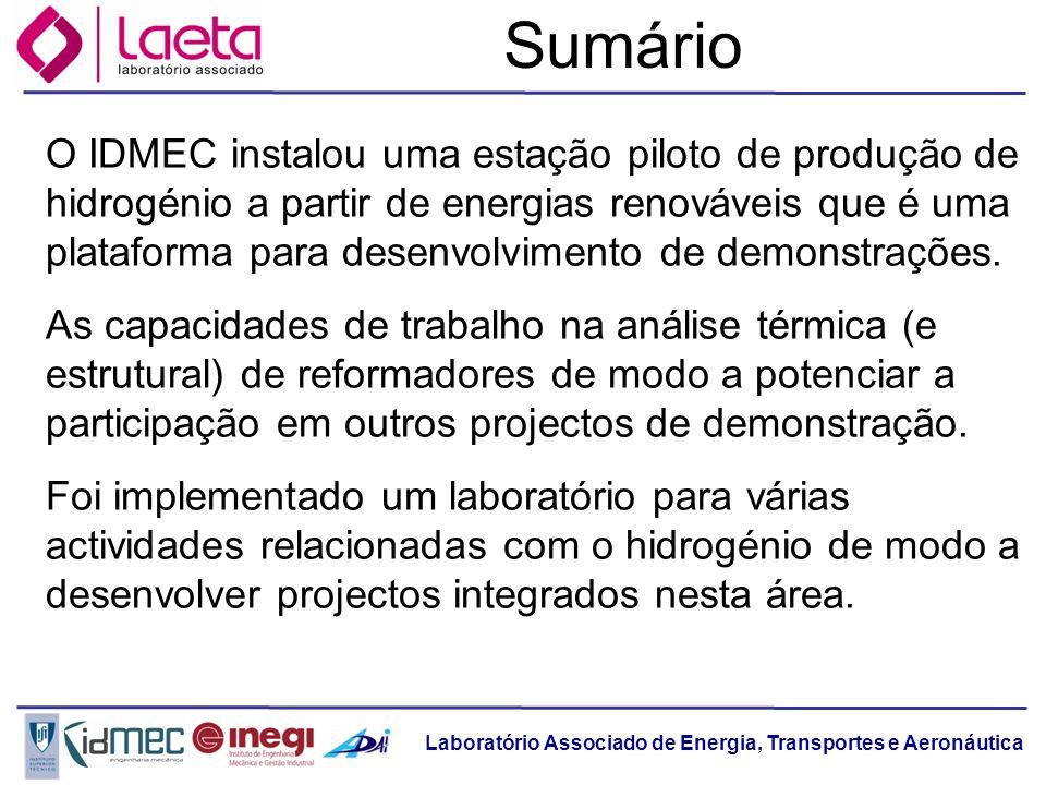 Laboratório Associado de Energia, Transportes e Aeronáutica Sumário O IDMEC instalou uma estação piloto de produção de hidrogénio a partir de energias