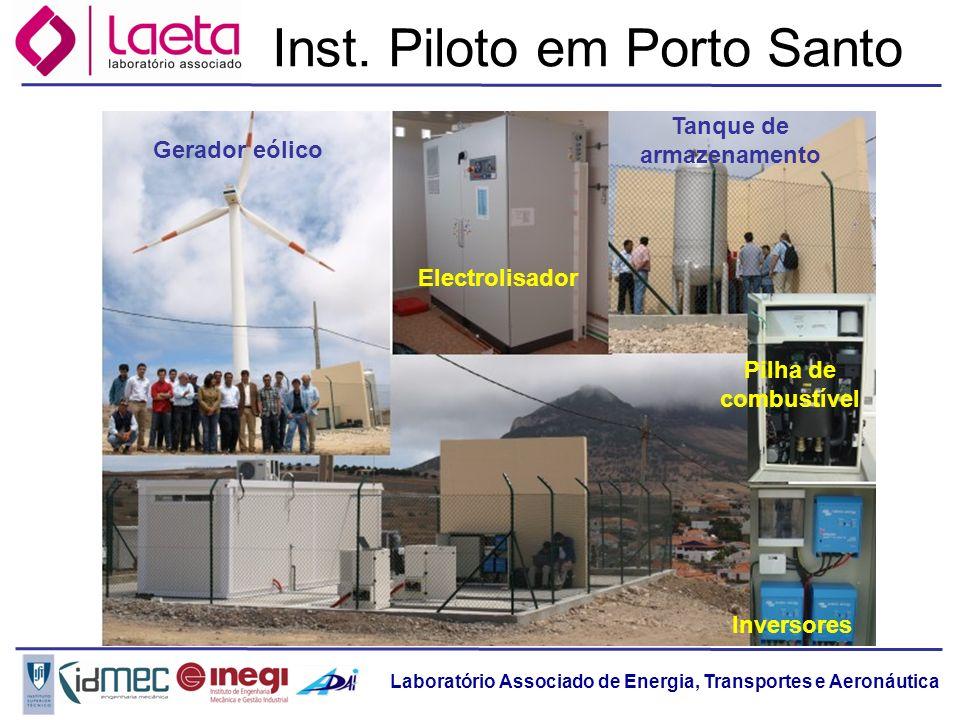 Laboratório Associado de Energia, Transportes e Aeronáutica Inst. Piloto em Porto Santo Tanque de armazenamento Gerador eólico Electrolisador Pilha de