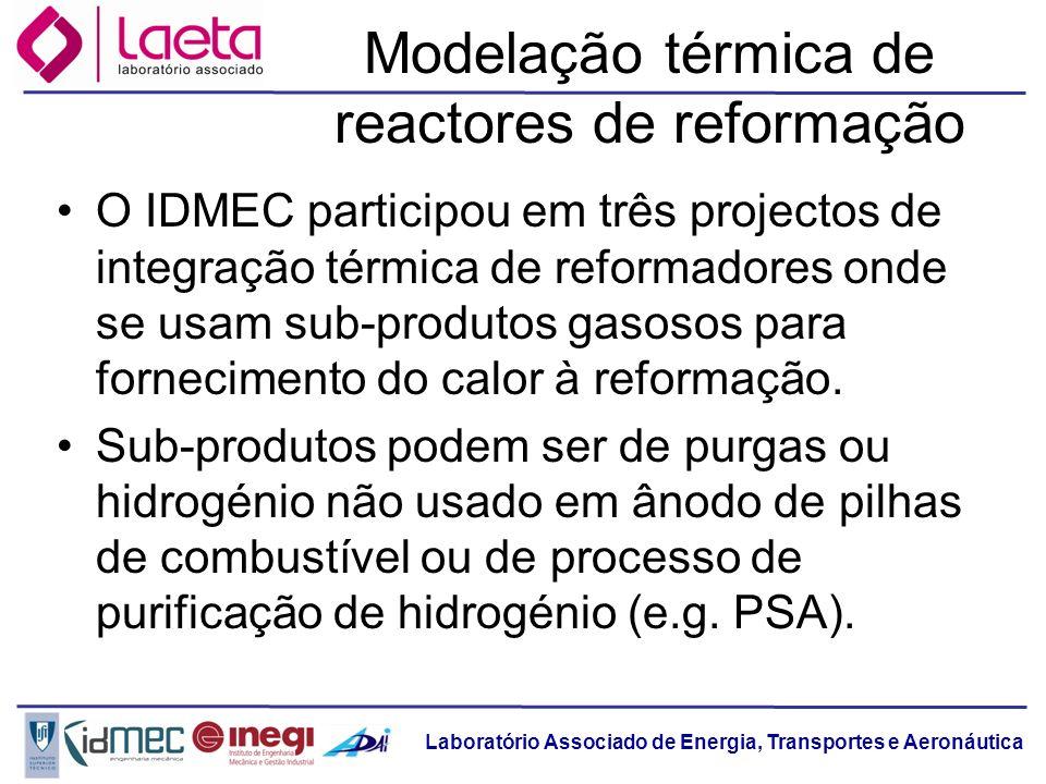 Laboratório Associado de Energia, Transportes e Aeronáutica Modelação térmica de reactores de reformação O IDMEC participou em três projectos de integ