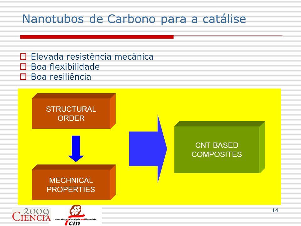 14 Nanotubos de Carbono para a catálise Elevada resistência mecânica Boa flexibilidade Boa resiliência STRUCTURAL ORDER MECHNICAL PROPERTIES CNT BASED