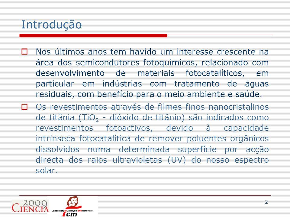 2 Introdução Nos últimos anos tem havido um interesse crescente na área dos semicondutores fotoquímicos, relacionado com desenvolvimento de materiais