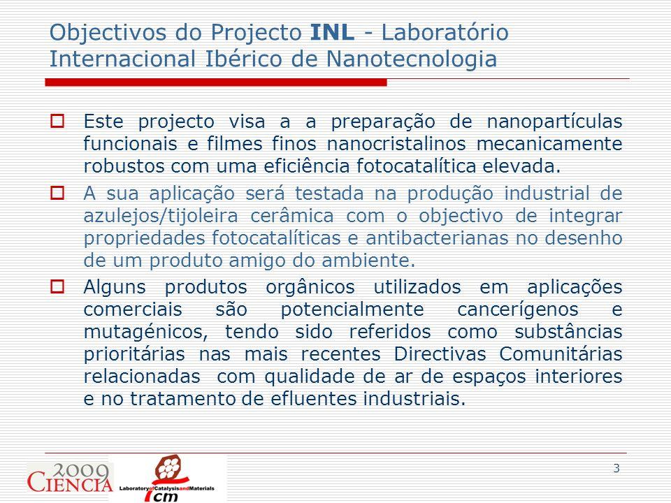 3 Objectivos do Projecto INL - Laboratório Internacional Ibérico de Nanotecnologia Este projecto visa a a preparação de nanopartículas funcionais e fi