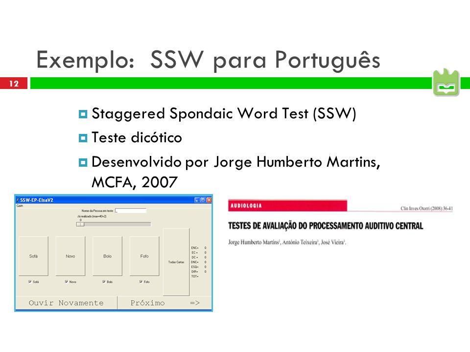 12 Exemplo: SSW para Português Staggered Spondaic Word Test (SSW) Teste dicótico Desenvolvido por Jorge Humberto Martins, MCFA, 2007