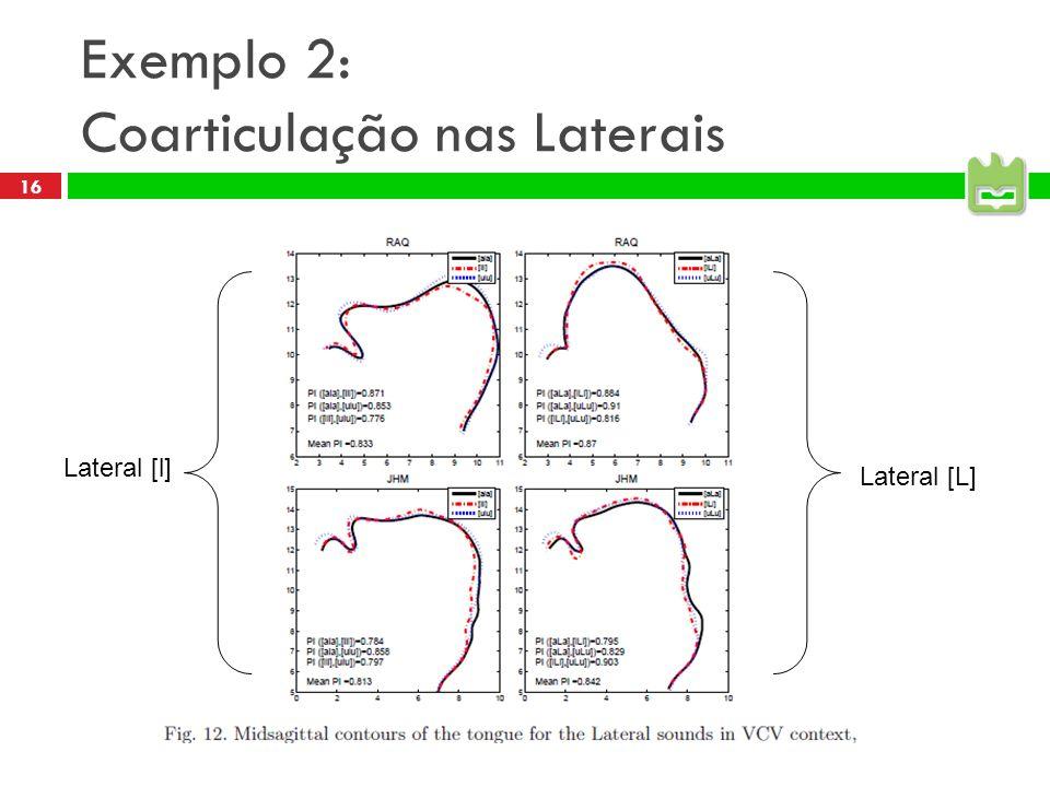 16 Exemplo 2: Coarticulação nas Laterais Lateral [l] Lateral [L]