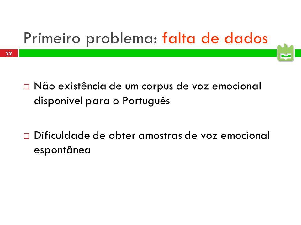 22 Primeiro problema: falta de dados Não existência de um corpus de voz emocional disponível para o Português Dificuldade de obter amostras de voz emocional espontânea