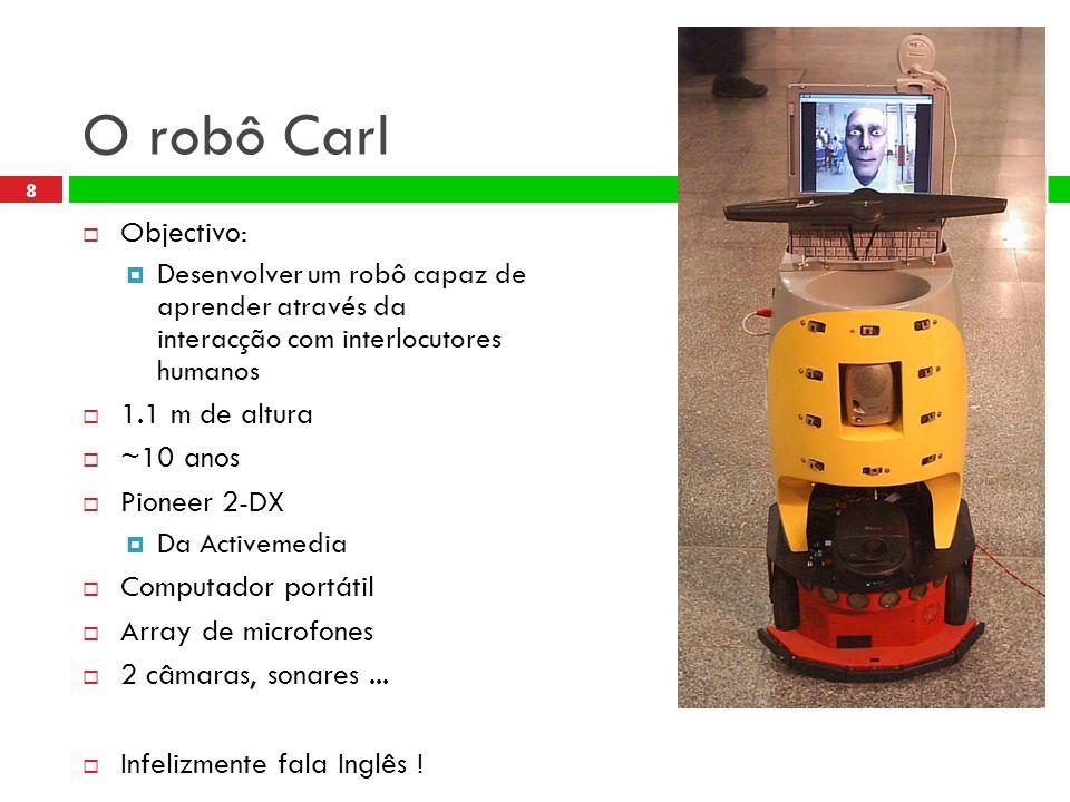 8 O robô Carl Objectivo: Desenvolver um robô capaz de aprender através da interacção com interlocutores humanos 1.1 m de altura ~10 anos Pioneer 2-DX Da Activemedia Computador portátil Array de microfones 2 câmaras, sonares...
