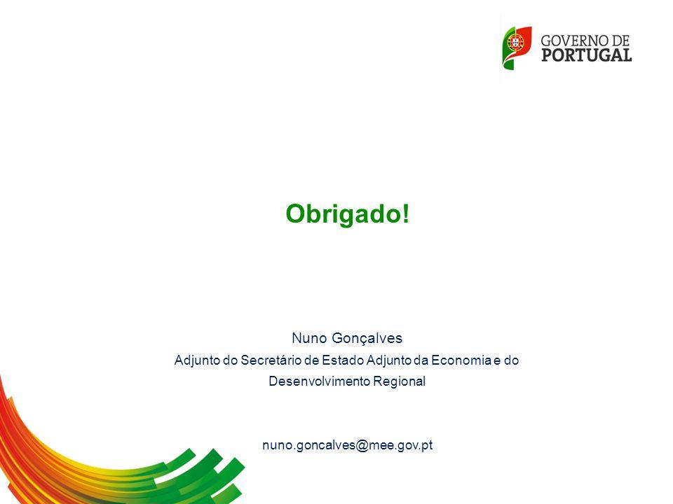 Obrigado! Nuno Gonçalves Adjunto do Secretário de Estado Adjunto da Economia e do Desenvolvimento Regional nuno.goncalves@mee.gov.pt