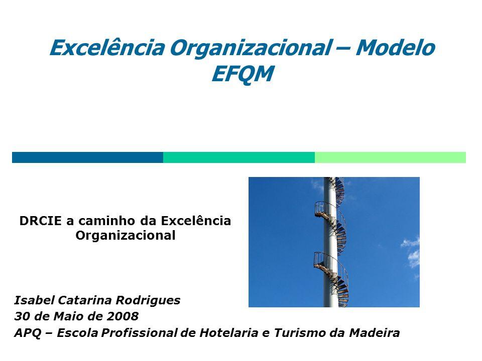 Excelência Organizacional – Modelo EFQM Isabel Catarina Rodrigues 30 de Maio de 2008 APQ – Escola Profissional de Hotelaria e Turismo da Madeira DRCIE