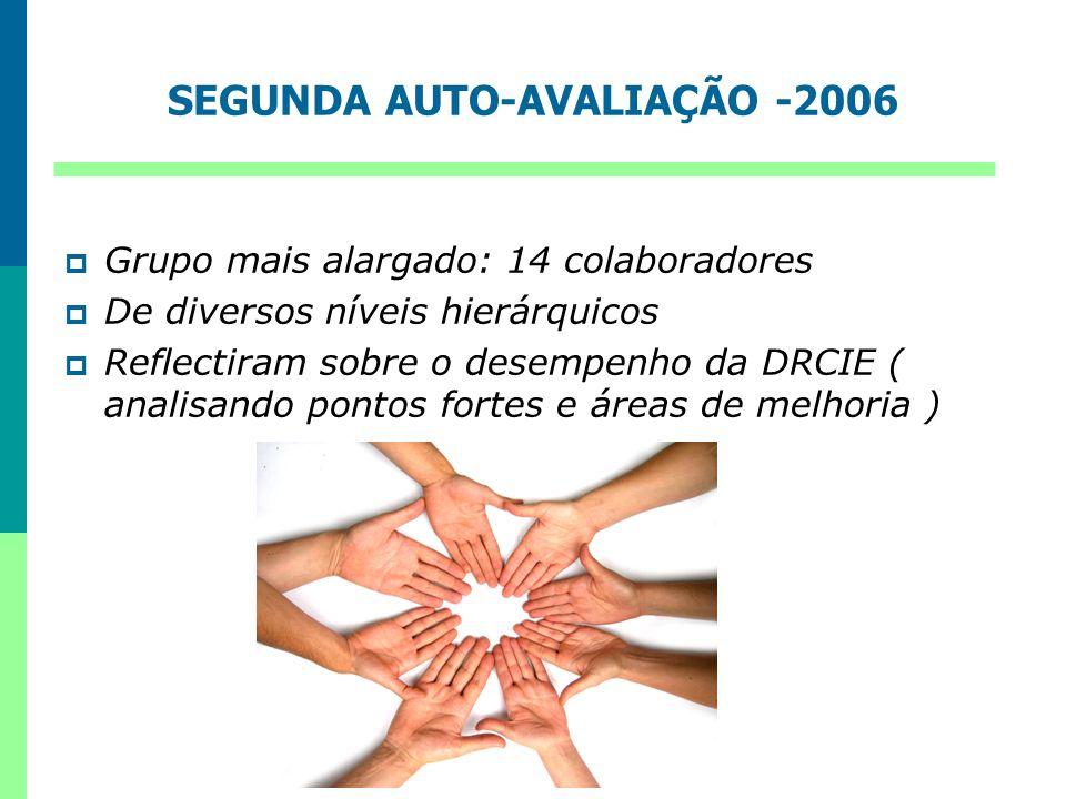 SEGUNDA AUTO-AVALIAÇÃO -2006 Grupo mais alargado: 14 colaboradores De diversos níveis hierárquicos Reflectiram sobre o desempenho da DRCIE ( analisand