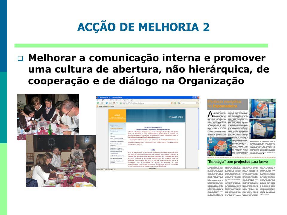 ACÇÃO DE MELHORIA 2 Melhorar a comunicação interna e promover uma cultura de abertura, não hierárquica, de cooperação e de diálogo na Organização