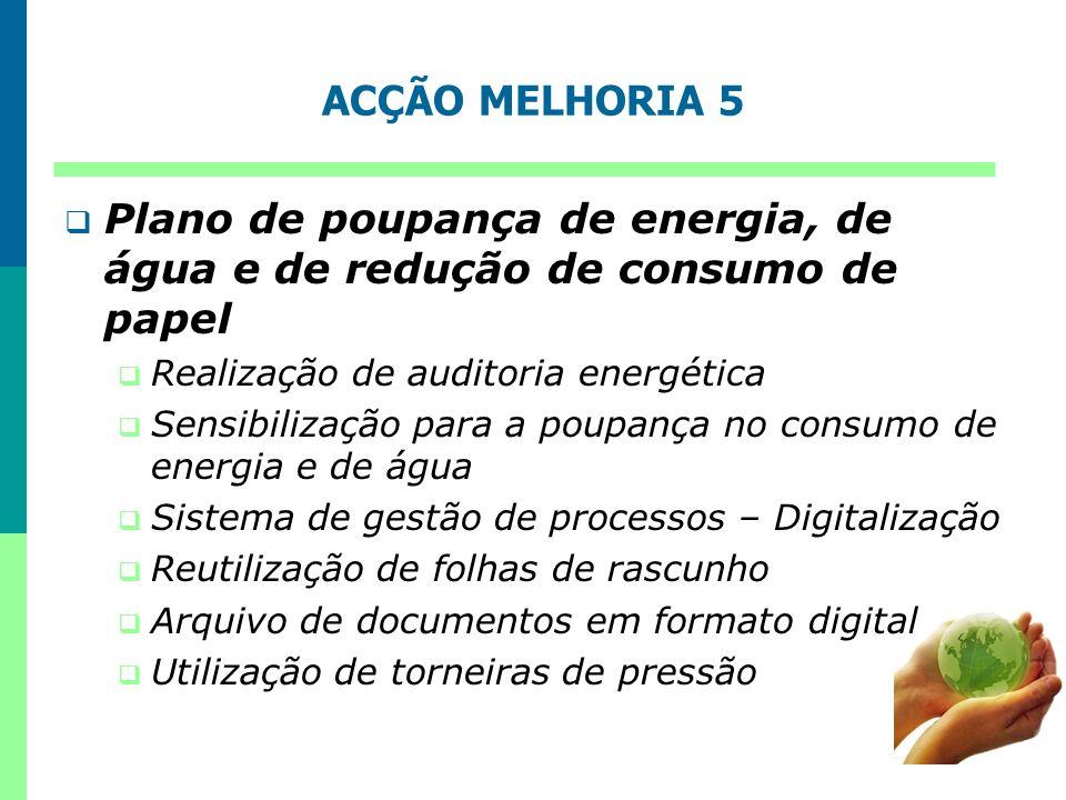 ACÇÃO MELHORIA 5 Plano de poupança de energia, de água e de redução de consumo de papel Realização de auditoria energética Sensibilização para a poupa