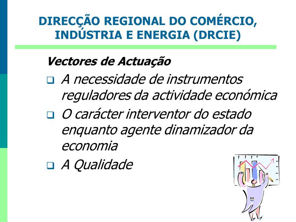 DIRECÇÃO REGIONAL DO COMÉRCIO, INDÚSTRIA E ENERGIA (DRCIE) Vectores de Actuação A necessidade de instrumentos reguladores da actividade económica O ca