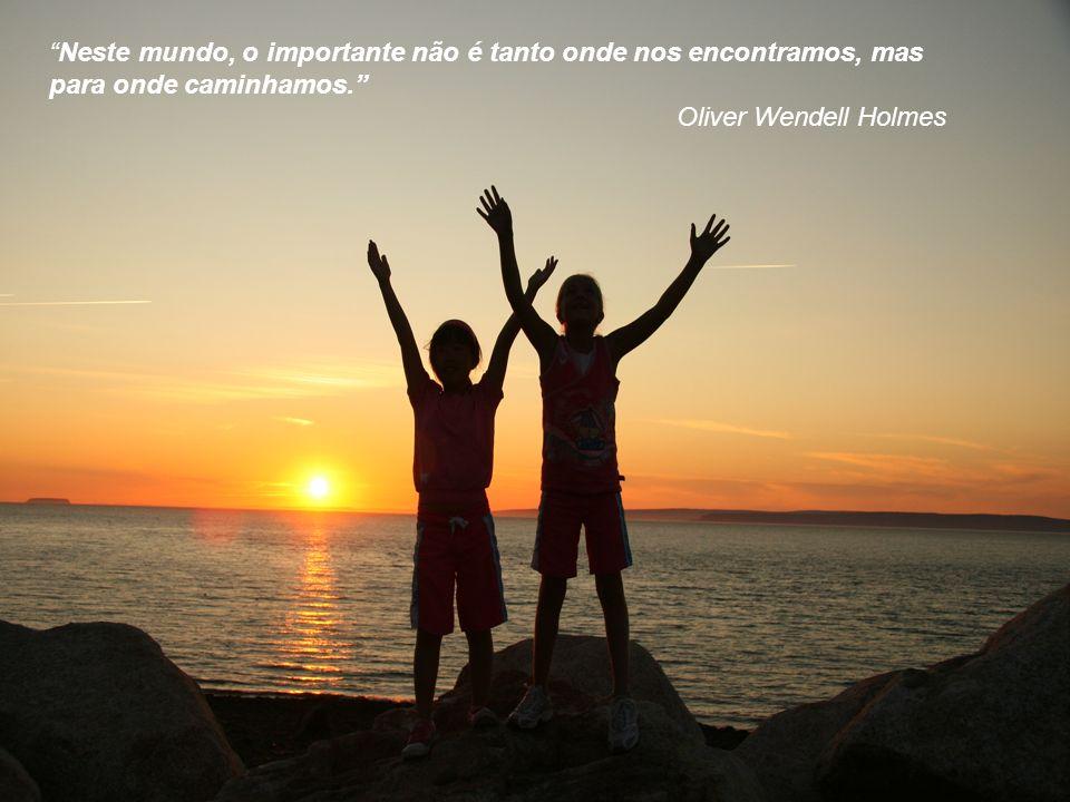 Neste mundo, o importante não é tanto onde nos encontramos, mas para onde caminhamos. Oliver Wendell Holmes Neste mundo, o importante não é tanto onde