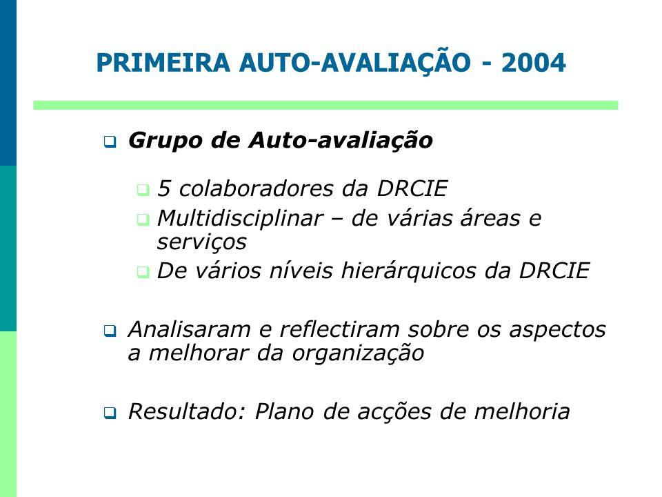 PRIMEIRA AUTO-AVALIAÇÃO - 2004 Grupo de Auto-avaliação 5 colaboradores da DRCIE Multidisciplinar – de várias áreas e serviços De vários níveis hierárq