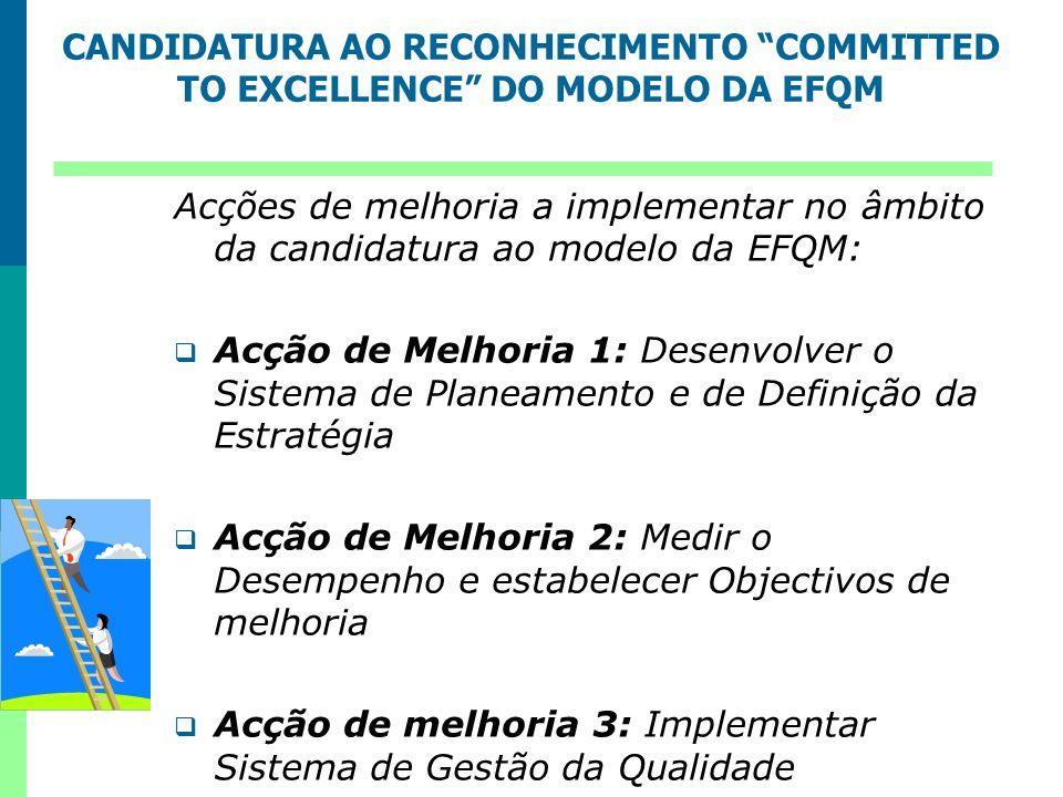 Acções de melhoria a implementar no âmbito da candidatura ao modelo da EFQM: Acção de Melhoria 1: Desenvolver o Sistema de Planeamento e de Definição