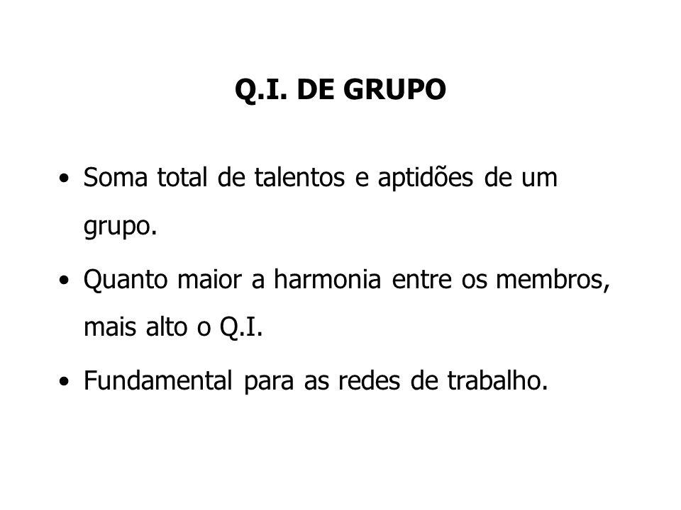 Q.I. DE GRUPO Soma total de talentos e aptidões de um grupo. Quanto maior a harmonia entre os membros, mais alto o Q.I. Fundamental para as redes de t