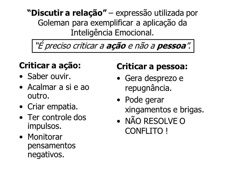 Discutir a relação – expressão utilizada por Goleman para exemplificar a aplicação da Inteligência Emocional. Criticar a ação: Saber ouvir. Acalmar a