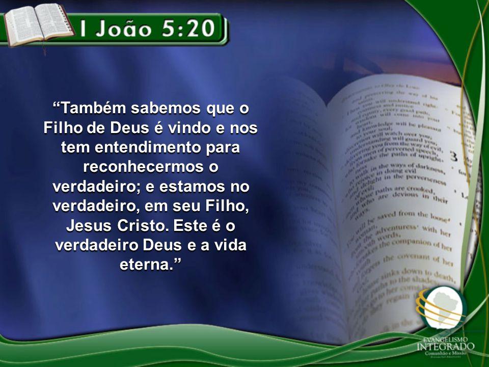 Também sabemos que o Filho de Deus é vindo e nos tem entendimento para reconhecermos o verdadeiro; e estamos no verdadeiro, em seu Filho, Jesus Cristo