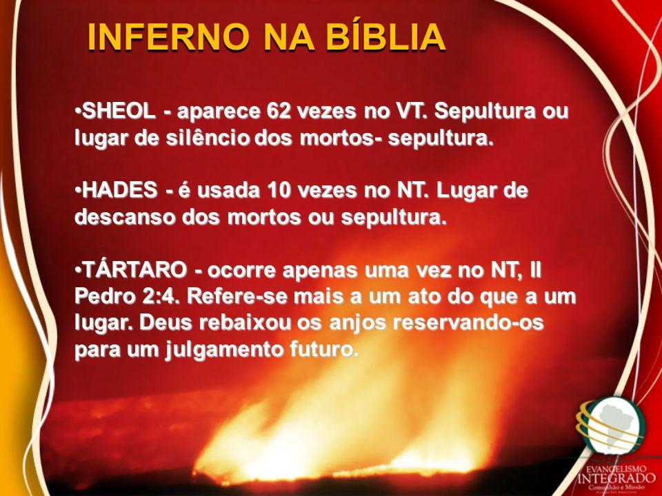 INFERNO NA BÍBLIA SHEOL - aparece 62 vezes no VT. Sepultura ou lugar de silêncio dos mortos- sepultura.SHEOL - aparece 62 vezes no VT. Sepultura ou lu