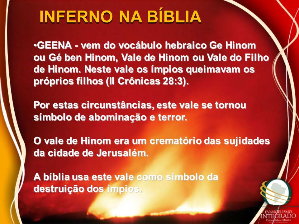 INFERNO NA BÍBLIA GEENA - vem do vocábulo hebraico Ge Hinom ou Gé ben Hinom, Vale de Hinom ou Vale do Filho de Hinom. Neste vale os ímpios queimavam o