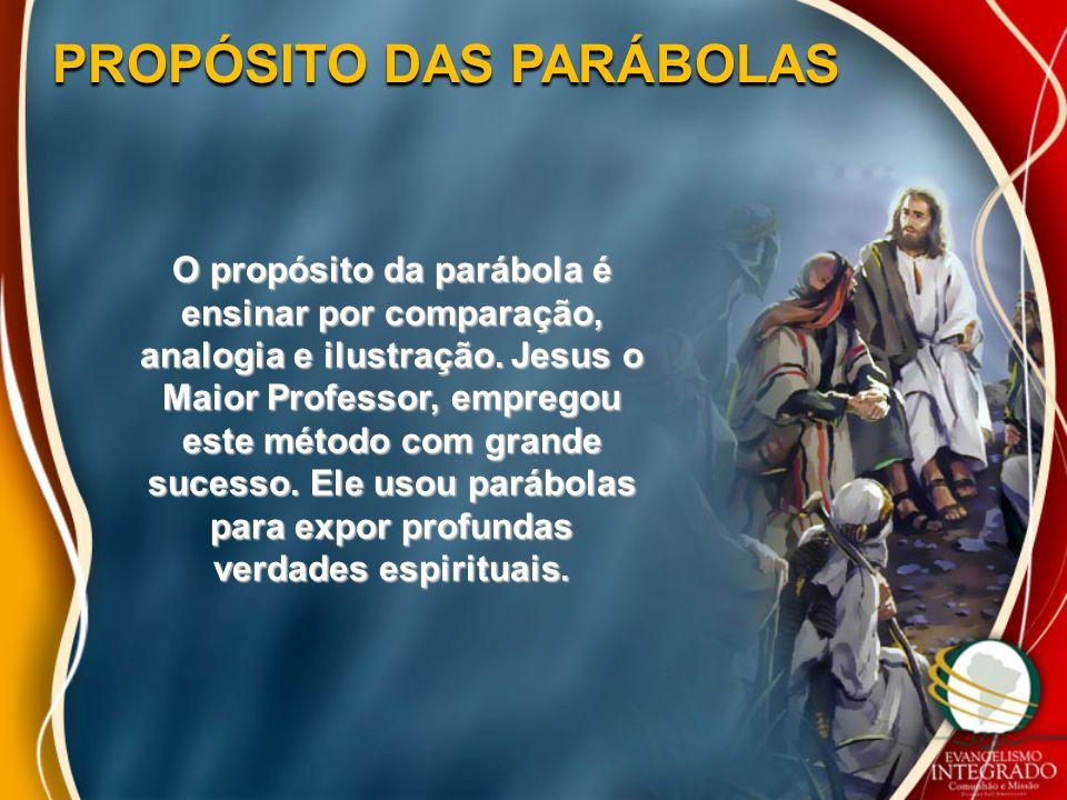 PROPÓSITO DAS PARÁBOLAS O propósito da parábola é ensinar por comparação, analogia e ilustração. Jesus o Maior Professor, empregou este método com gra