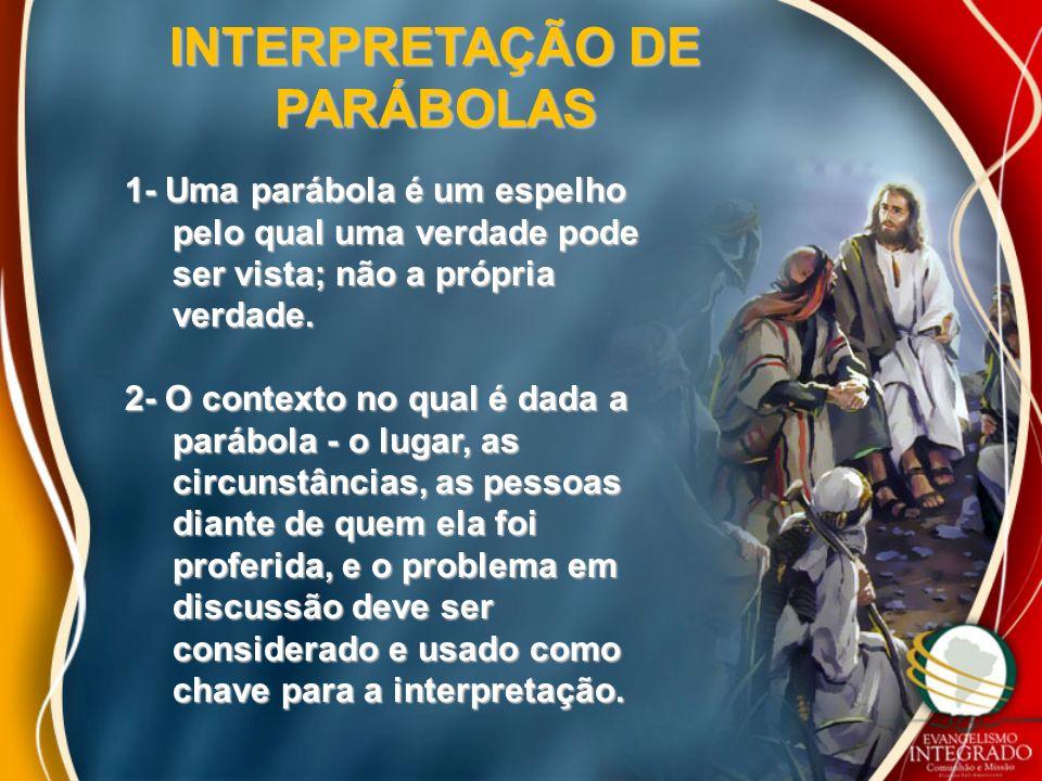 INTERPRETAÇÃO DE PARÁBOLAS 1- Uma parábola é um espelho pelo qual uma verdade pode pelo qual uma verdade pode ser vista; não a própria ser vista; não