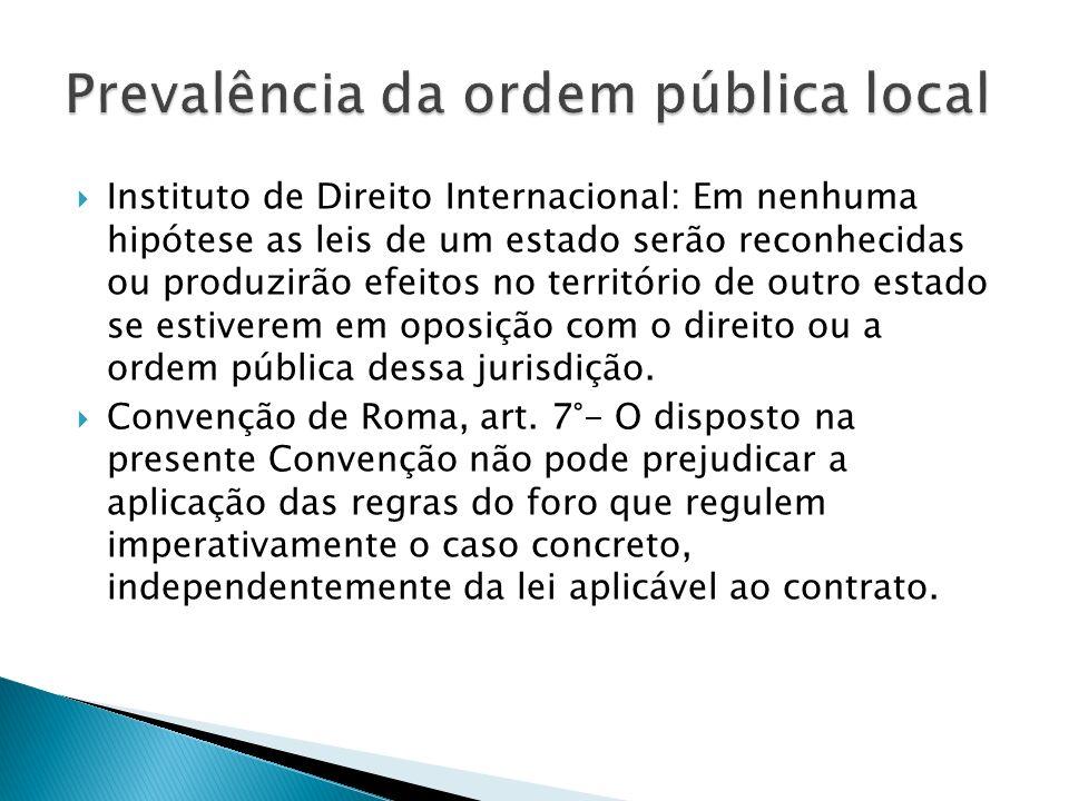 Instituto de Direito Internacional: Em nenhuma hipótese as leis de um estado serão reconhecidas ou produzirão efeitos no território de outro estado se estiverem em oposição com o direito ou a ordem pública dessa jurisdição.