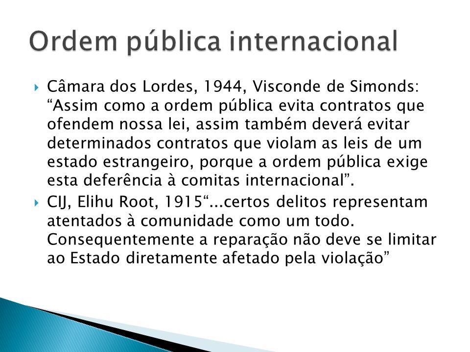Câmara dos Lordes, 1944, Visconde de Simonds: Assim como a ordem pública evita contratos que ofendem nossa lei, assim também deverá evitar determinados contratos que violam as leis de um estado estrangeiro, porque a ordem pública exige esta deferência à comitas internacional.
