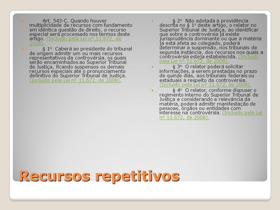 Recursos repetitivos Art. 543-C. Quando houver multiplicidade de recursos com fundamento em idêntica questão de direito, o recurso especial será proce