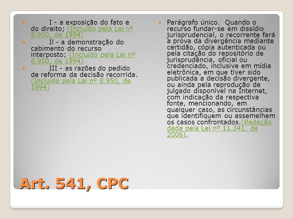 Art. 541, CPC I - a exposição do fato e do direito; (Incluído pela Lei nº 8.950, de 1994)(Incluído pela Lei nº 8.950, de 1994) Il - a demonstração do