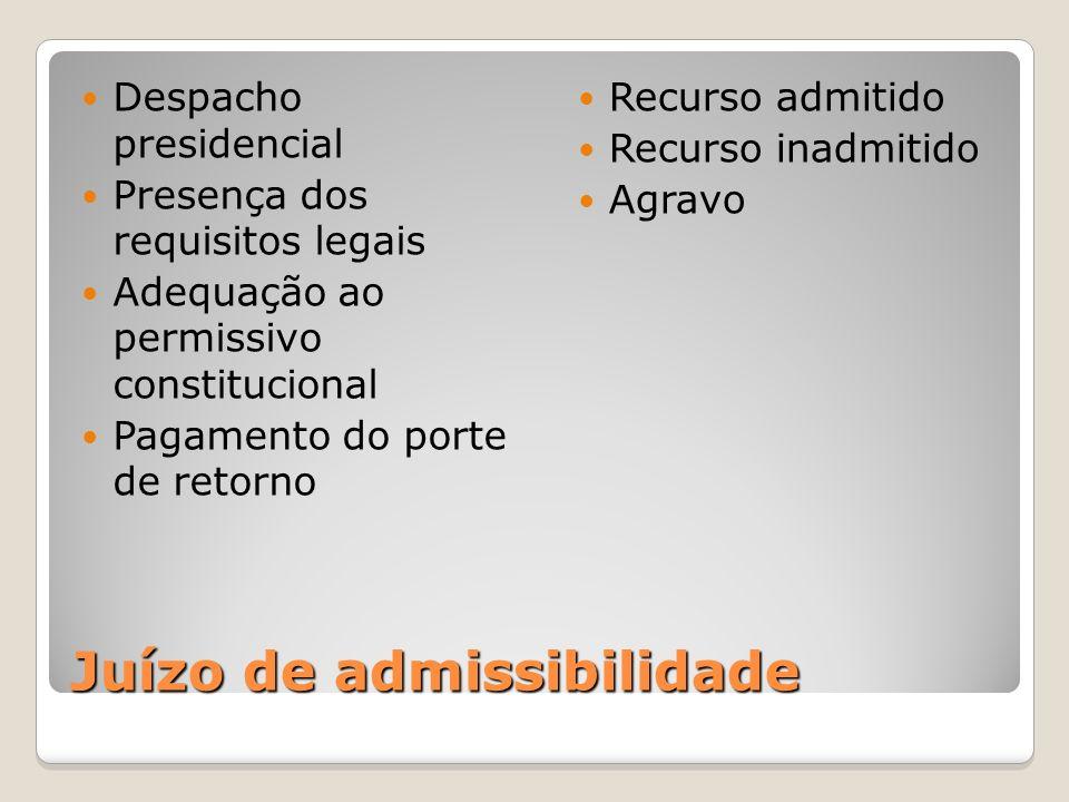 Juízo de admissibilidade Despacho presidencial Presença dos requisitos legais Adequação ao permissivo constitucional Pagamento do porte de retorno Rec