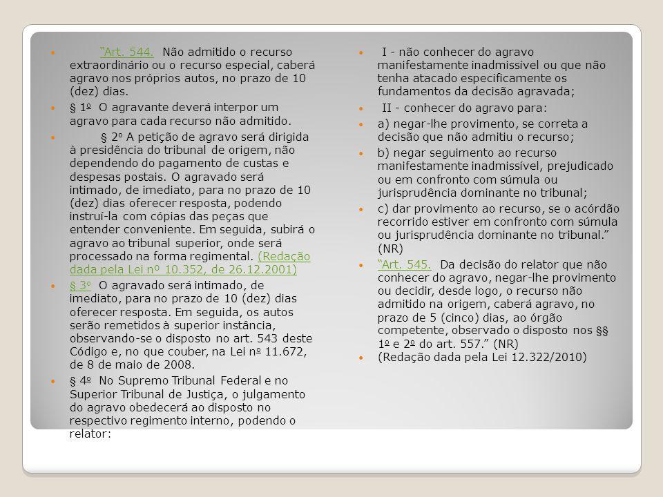 Agravo e embargos de divergência Art.545.