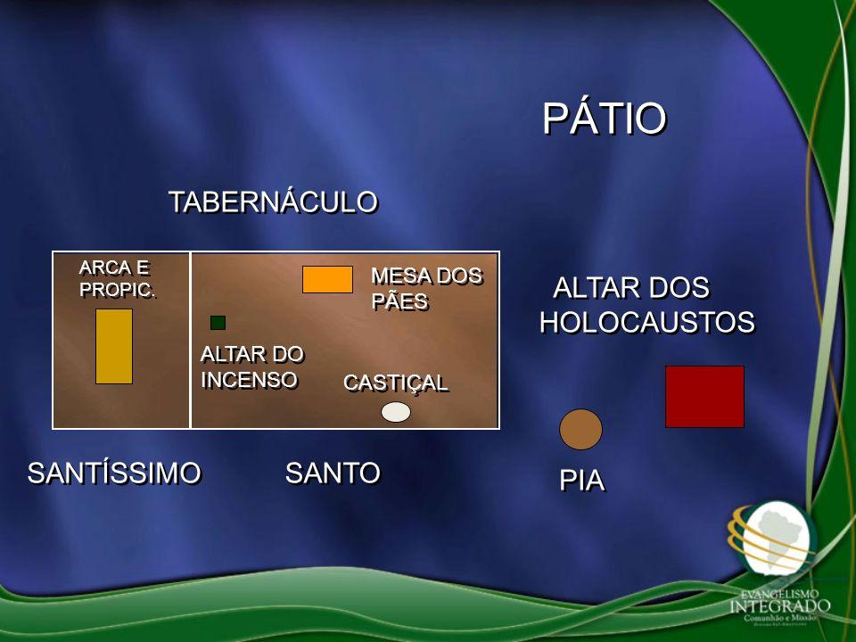 TABERNÁCULO PIA ALTAR DOS HOLOCAUSTOS CASTIÇAL MESA DOS PÃES ALTAR DO INCENSO SANTO SANTÍSSIMO PÁTIO ARCA E PROPIC.
