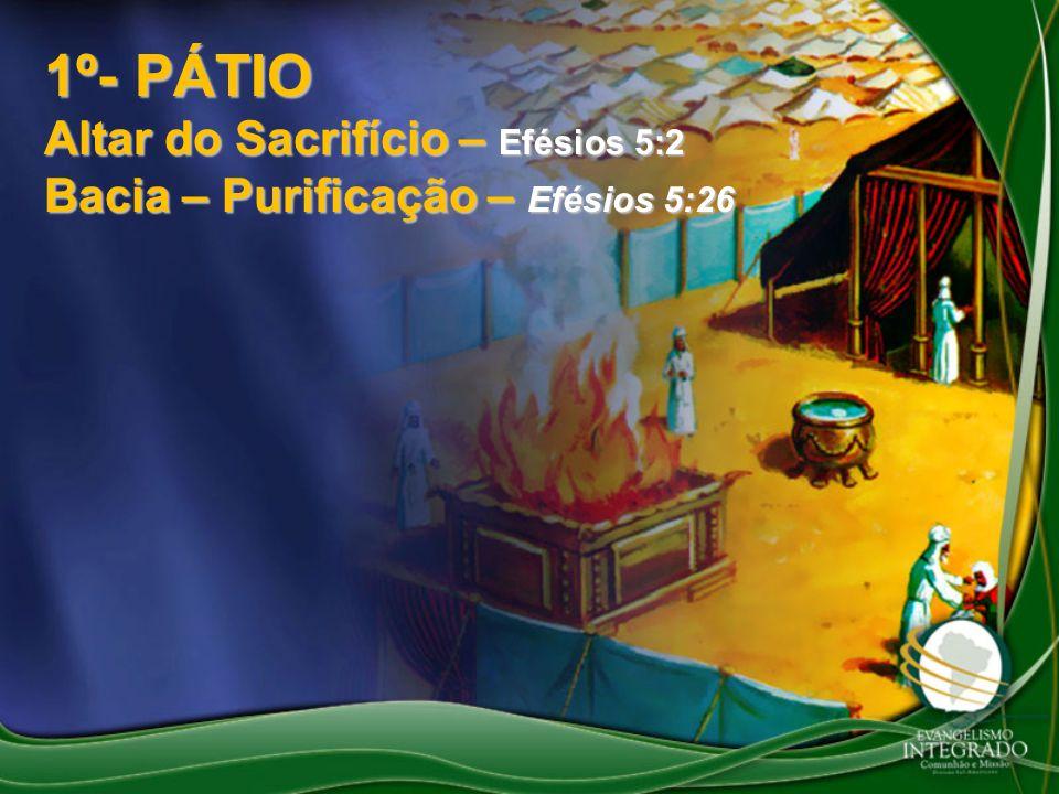 1º- PÁTIO Altar do Sacrifício – Efésios 5:2 Bacia – Purificação – Efésios 5:26