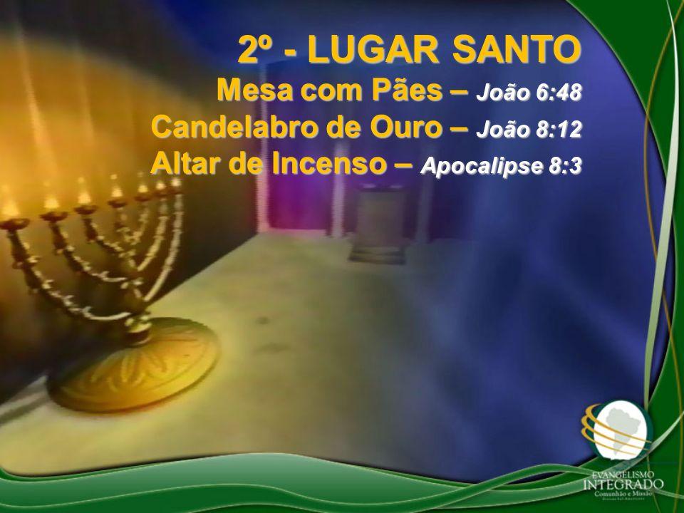 2º - LUGAR SANTO Mesa com Pães – João 6:48 Candelabro de Ouro – João 8:12 Altar de Incenso – Apocalipse 8:3