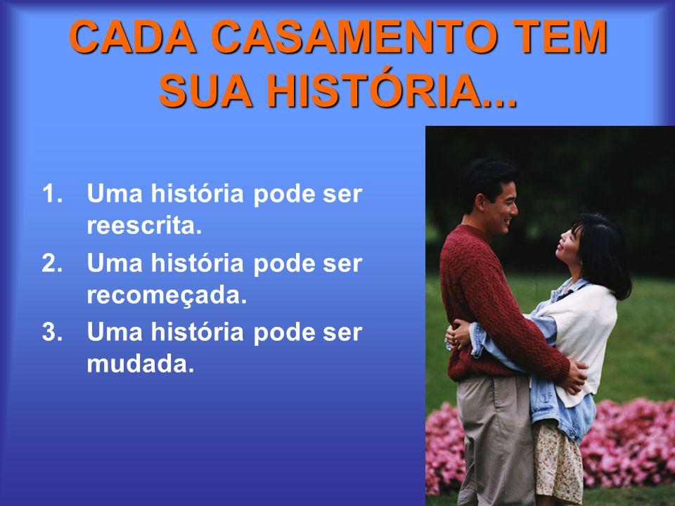 CADA CASAMENTO TEM SUA HISTÓRIA... 1.Uma história pode ser reescrita. 2.Uma história pode ser recomeçada. 3.Uma história pode ser mudada.